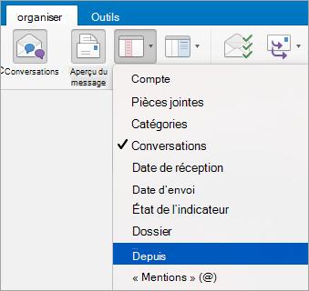 Affiche la sélection de l'option de dans le menu réorganiser par