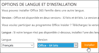 Capture d'écran montrant les options de langue et de version, et le bouton Installer
