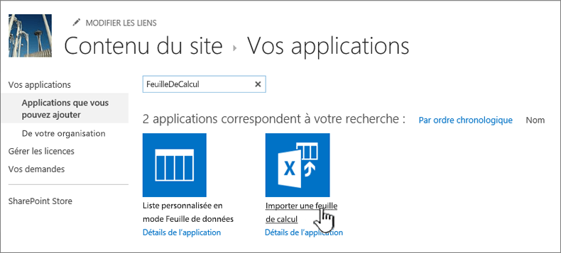 Application Importer une feuille de calcul sélectionnée dans la boîte de dialogue Nouvelles applications