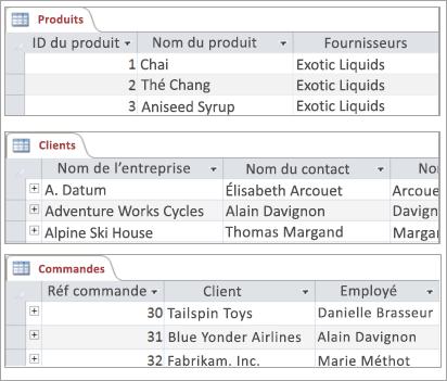 Extraits de tables Produits, Clients et Commandes