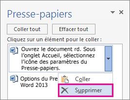 Suppression d'un élément du Presse-papiers Word2013