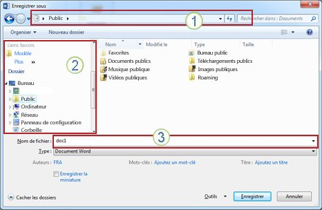 Boîte de dialogue Windows Vista et Windows 7 Enregistrer sous