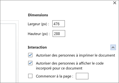 Options d'incorporation d'un document Word