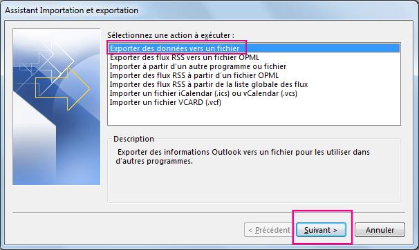 Choisissez Exporter vers un fichier