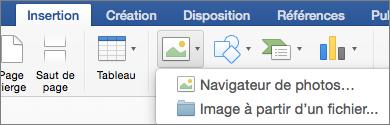 Image de Fichier en surbrillance sous l'onglet Insertion.