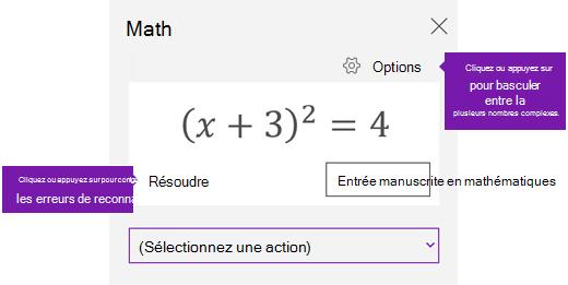 Une équation dans le volet Office mathématiques