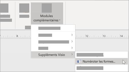 Sous l'onglet Affichage, sélectionnez Modules complémentaires > les formes de > des suppléments Visio pour ajouter une mise en forme des nombres.