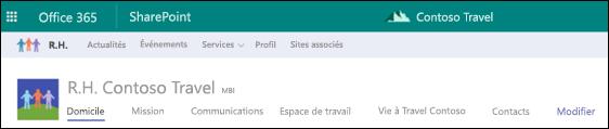 Navigation partagée sur le site concentrateur SharePoint