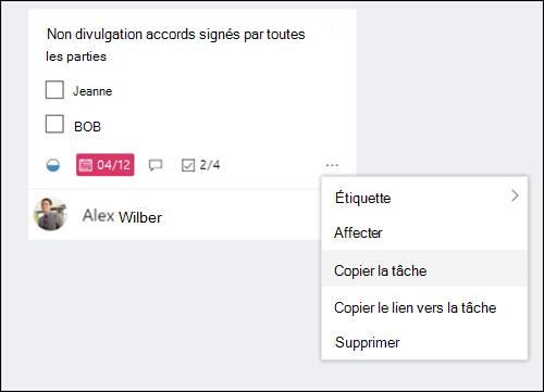 Capture d'écran: affichant le menu plus qui s'ouvre à partir d'une tâche sur le forum de planificateur.