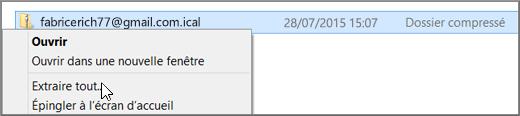 Cliquez avec le bouton droit sur le fichier, puis sélectionnez Extraire.