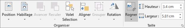Sous l'onglet Format, cliquez sur Rogner.