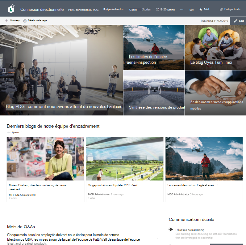 Exemple de site de communication dédié aux blogs