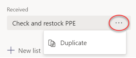Selecting Duplicate from the menu for a list selected under Received