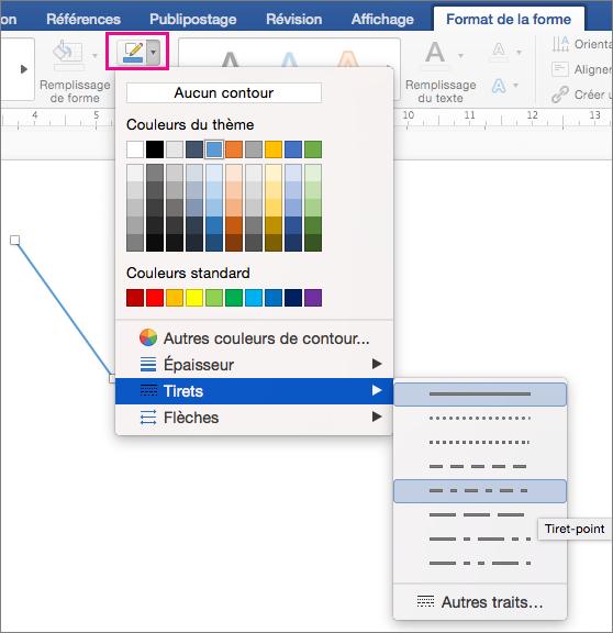 Option Contour de la forme et éléments du menu Tirets mis en évidence sous l'onglet Format de la forme