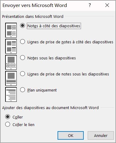 Zone envoyer vers Microsoft Word