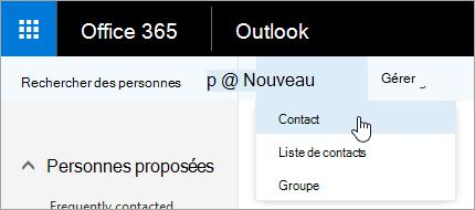 Menu contextuel du bouton Nouveau avec l'option Contact sélectionnée
