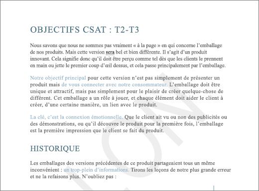 Exemple de filigrane brouillon sur une page contenant du texte