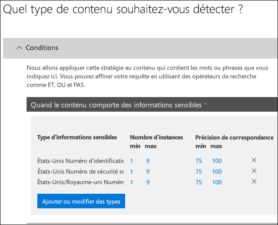 Options permettant d'identifier les types d'informations sensibles