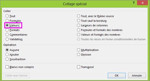 Boîte de dialogue Collage spécial avec l'option Valeurs sélectionnée