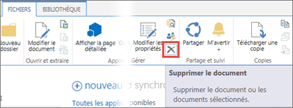 Supprimer une application de la bibliothèque SharePoint dans le catalogue d'applications