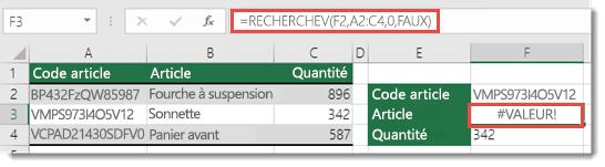 L'erreur #VALEUR! est générée lorsque l'argument no_index_col est inférieur à 1.