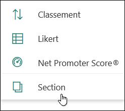 Option nouvelle section dans Microsoft Forms