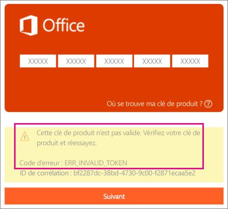 Code d'erreur qui apparaît lorsque vous entrez une clé de produit incorrecte sur la page http://office.com/setup