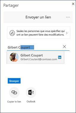 Boîte de dialogue Partager dans OneDrive avec une suggestion de contact LinkedIn