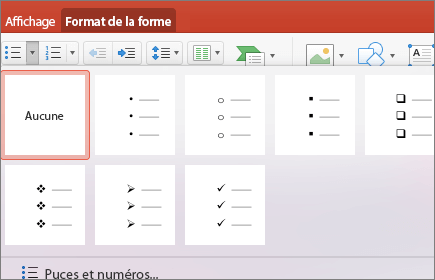 Capture d'écran des styles de puces disponibles lorsque vous sélectionnez la flèche située sur le bouton Puces