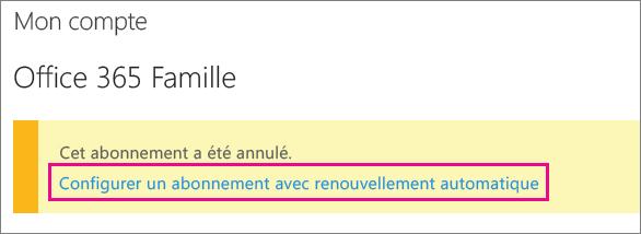 Capture d'écran du lien «Configurer un abonnement avec renouvellement automatique».