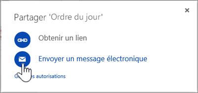 Capture d'écran de la sélection de l'option Courrier électronique dans la boîte de dialogue Partager dans OneDrive