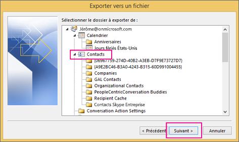 Faites défiler la page vers le haut, puis sélectionnez le dossier de contacts que vous voulez exporter.