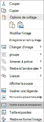 Texte de remplacement pour les images du menu contextuel dans Outlook pour Windows