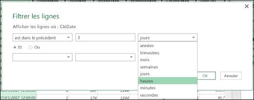 Power Query - Définir les options de filtrage avec les heures, les minutes et les secondes
