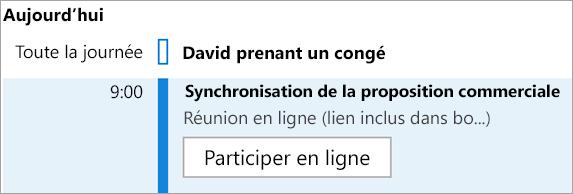 Affiche le bouton Participer en ligne pour les réunions