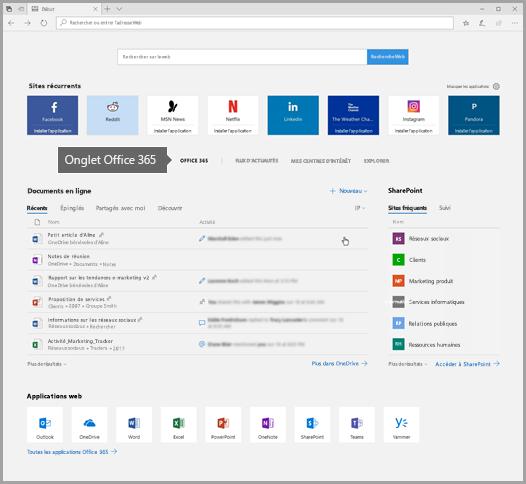 Capture d'écran de bord avec l'onglet Office 365