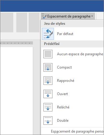 Options permettant de modifier l'espacement des paragraphes dans Word