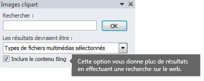 L'activation de l'option Inclure le contenu Bing a pour effet de produire plus de résultats de recherche.