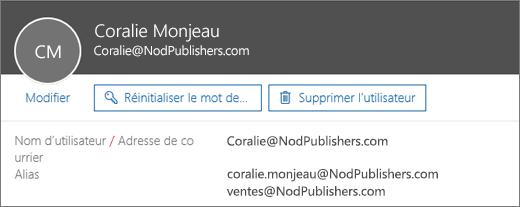 Cet utilisateur a une adresse principale et deux alias.