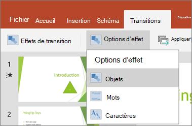Affiche les Transitions > menu Options d'effet dans PowerPoint pour Android.