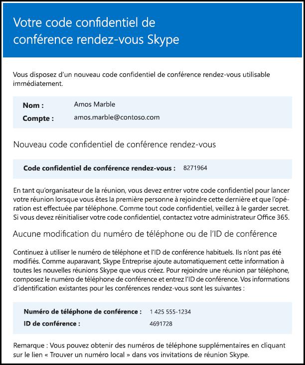 Le code confidentiel de la conférence rendez-vous a été modifié.