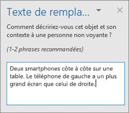 Volet texte de remplacement dans Outlook pour Windows.