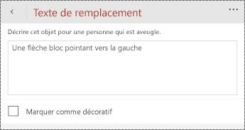 Boîte de dialogue texte de remplacement pour les formes dans PowerPoint pour les téléphones Windows.
