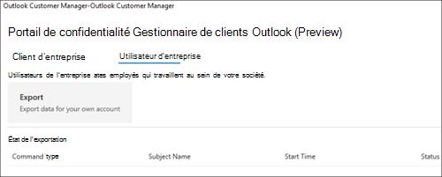Capture d'écran: Le Gestionnaire de clients Outlook exporter des données des employés