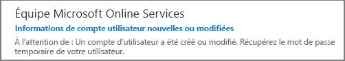 Vous recevrez un message électronique de la part de l'équipe Microsoft Online Services.