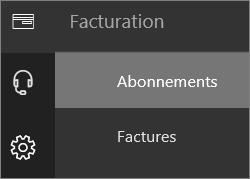 Capture d'écran du menu Facturation dans le nouveau Centre d'administration Office365 avec l'option Abonnements sélectionnée