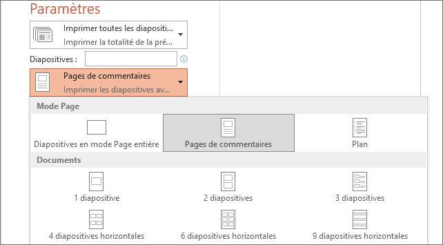 Capture d'écran de l'option Imprimer les notes