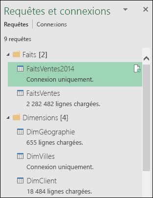 Récupérer et transformer - Volet Requêtes et connexions