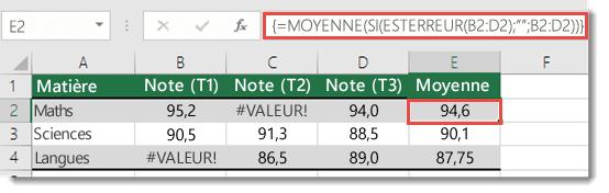 Fonction matricielle dans MOYENNE pour résoudre l'erreur #VALEUR!
