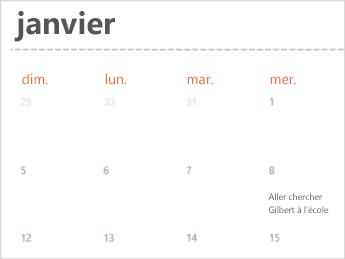 Modèle de calendrier dans Excel Online